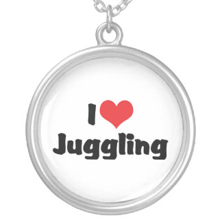 I Love Juggling Round Pendant Necklace