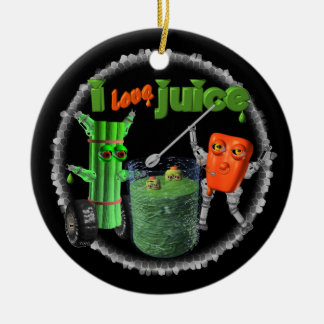 I Love Juice celery & pepper template 100+ items Double-Sided Ceramic Round Christmas Ornament