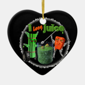 I Love Juice celery & pepper template 100+ items Double-Sided Heart Ceramic Christmas Ornament