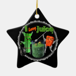 I Love Juice celery & pepper template 100+ items Double-Sided Star Ceramic Christmas Ornament