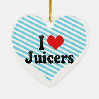 I Love Juicers Double-Sided Heart Ceramic Christmas Ornament