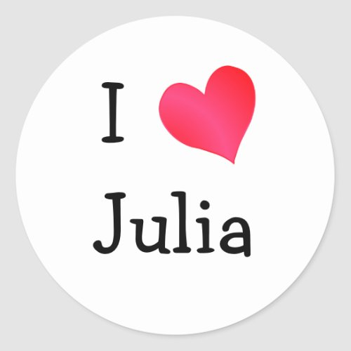 I Love Julia Classic Round Sticker