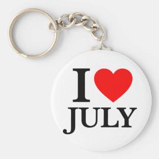 I Love July Keychain