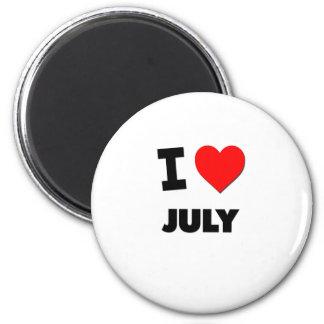 I Love July 2 Inch Round Magnet