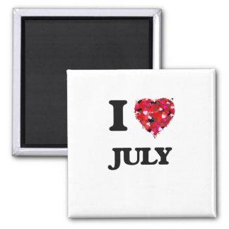 I Love July 2 Inch Square Magnet