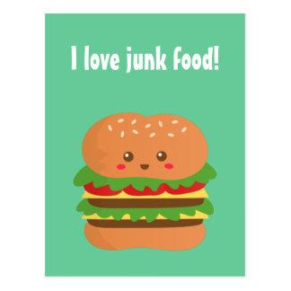 I love junk food, cute and happy burger postcards