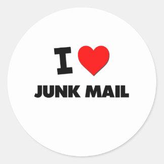 I Love Junk Mail Round Sticker