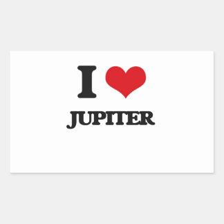 I Love Jupiter Rectangular Stickers