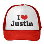 I Love Justin Trucker Hat