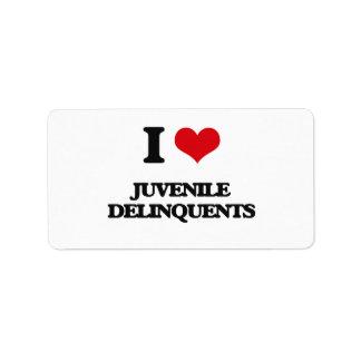 I Love Juvenile Delinquents Address Label