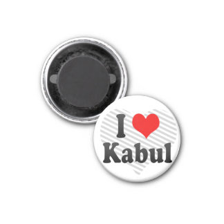 I Love Kabul, Afghanistan 1 Inch Round Magnet