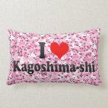 I Love Kagoshima-shi, Japan Throw Pillows