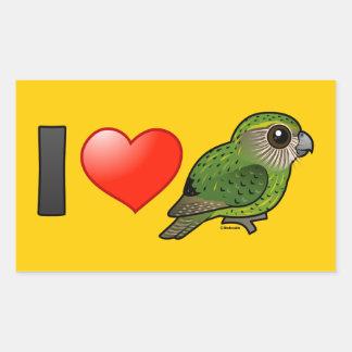 I Love Kakapos Rectangular Sticker