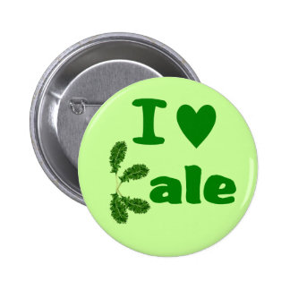 I Love Kale (I Heart Kale) Vegetable/Gardener Pinback Button