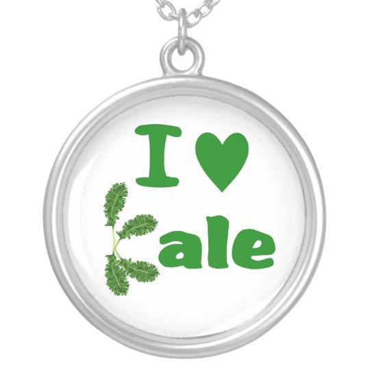 I Love Kale (I Heart Kale) Vegetable/Gardener Silver Plated Necklace