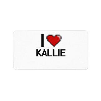 I Love Kallie Digital Retro Design Address Label