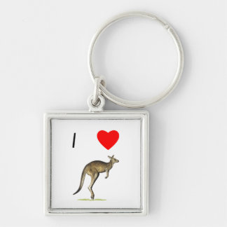 I Love Kangaroos (2) Silver-Colored Square Keychain