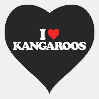 I LOVE KANGAROOS HEART STICKERS