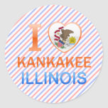 I Love Kankakee, IL Round Stickers