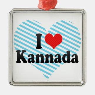 I Love Kannada Square Metal Christmas Ornament