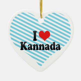I Love Kannada Double-Sided Heart Ceramic Christmas Ornament
