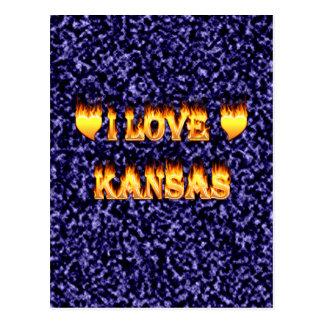 I love kansas fire and flames postcard