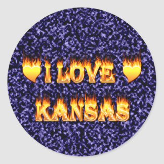 I love kansas fire and flames stickers