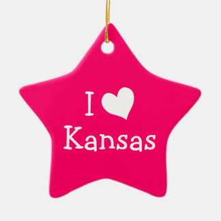 I Love Kansas on Pink Ceramic Ornament