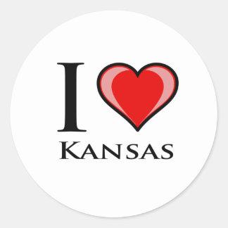 I Love Kansas Round Stickers