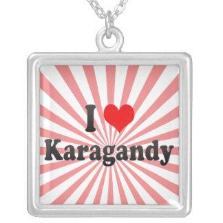 I Love Karagandy, Kazakhstan Square Pendant Necklace