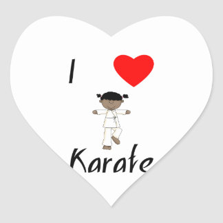 I Love Karate (2) Heart Sticker