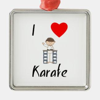 I Love Karate (3) Metal Ornament