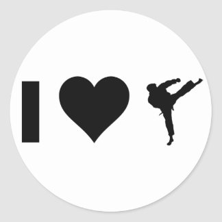I Love Karate Classic Round Sticker
