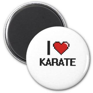 I Love Karate Digital Retro Design 2 Inch Round Magnet