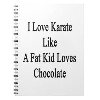 I Love Karate Like A Fat Kid Loves Chocolate Note Books