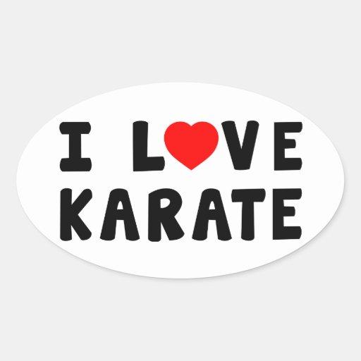 I Love Karate Oval Sticker