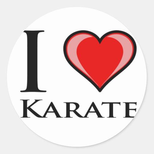 I Love Karate Round Stickers