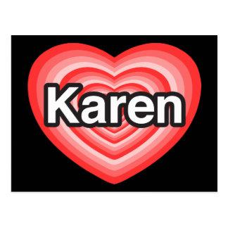 I love Karen I love you Karen Heart Postcards