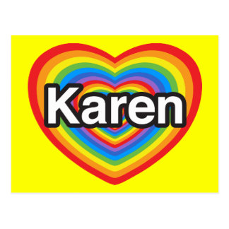 I love Karen I love you Karen Heart Post Card