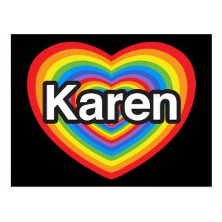 I love Karen I love you Karen Heart Post Cards