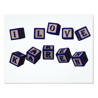 I love Karen toy blocks in blue 4.25x5.5 Paper Invitation Card