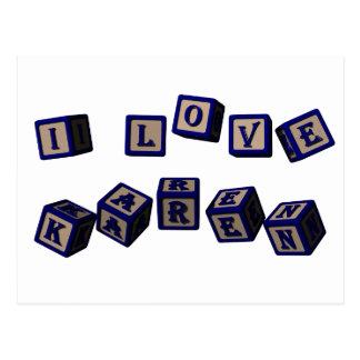 I love Karen toy blocks in blue Postcard
