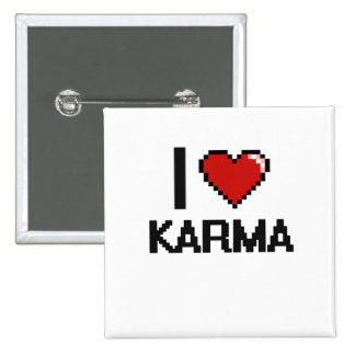 I Love Karma Digital Retro Design 2 Inch Square Button