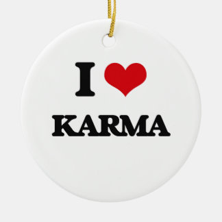 I Love Karma Double-Sided Ceramic Round Christmas Ornament