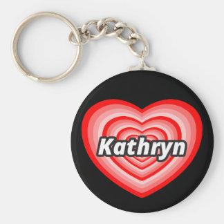 I love Kathryn Basic Round Button Keychain