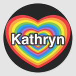 I love Kathryn. I love you Kathryn. Heart Stickers