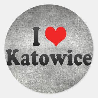 I Love Katowice, Poland Round Stickers