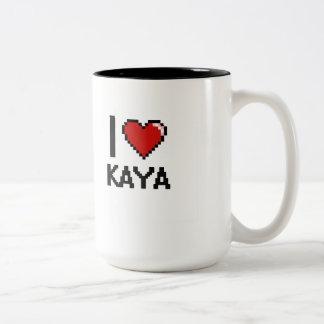 I Love Kaya Digital Retro Design Two-Tone Coffee Mug