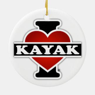 I Love Kayak Ceramic Ornament