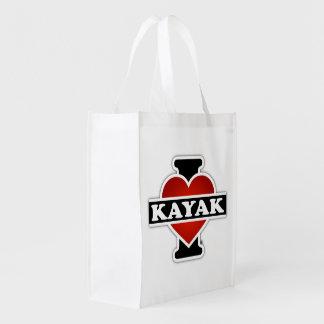 I Love Kayak Grocery Bag